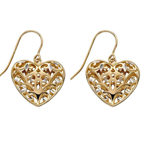 9ct Gold Filigree Heart Droppers