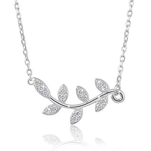 Sterling Silver CZ Olive Leaf Necklace