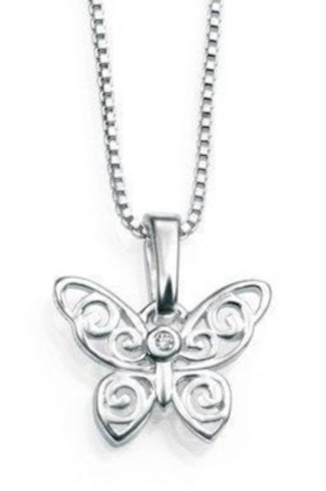 D For Diamond Sterling Silver Filigree Butterfly Pendant