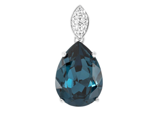Sterling Silver Blue Swarovski Crystal & CZ pendant