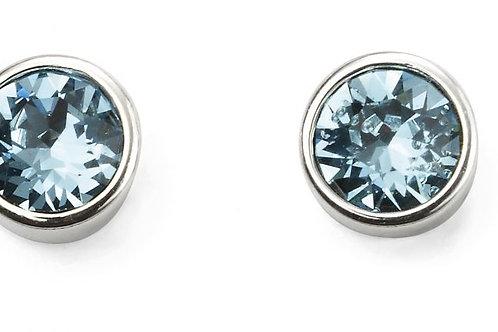 Sterling Silver March birthstone Swarovski crystal studs