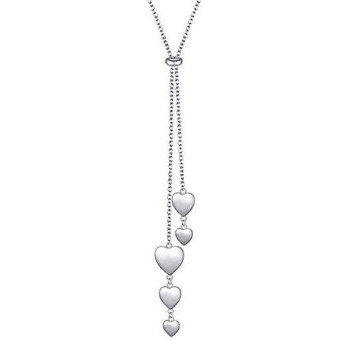 Sterling Silver Heart Cascade Slider Necklace