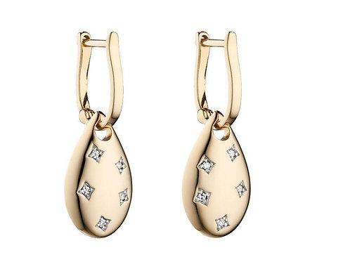 9ct Gold Diamond Starburst Droppers