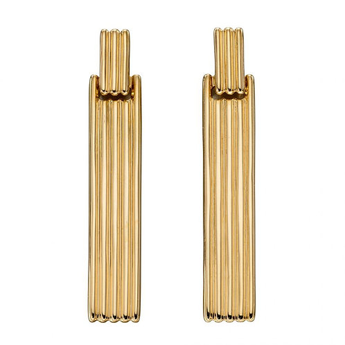 9ct Gold Ridged Bar Droppers
