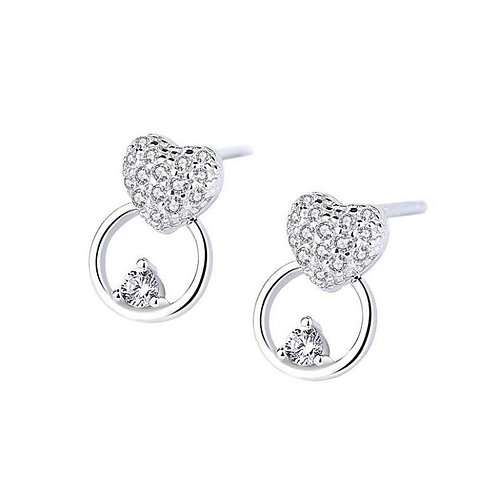 Sterling Silver CZ Hearts & Circle Studs