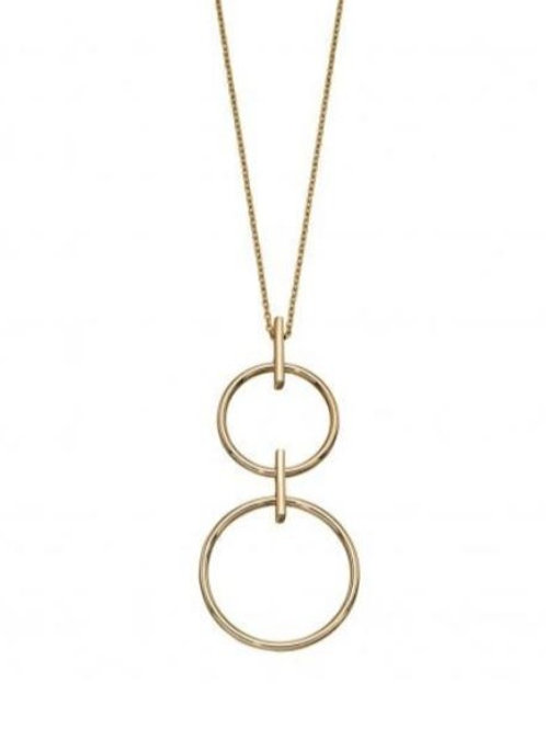 9ct Gold Double Circle Drop Necklace
