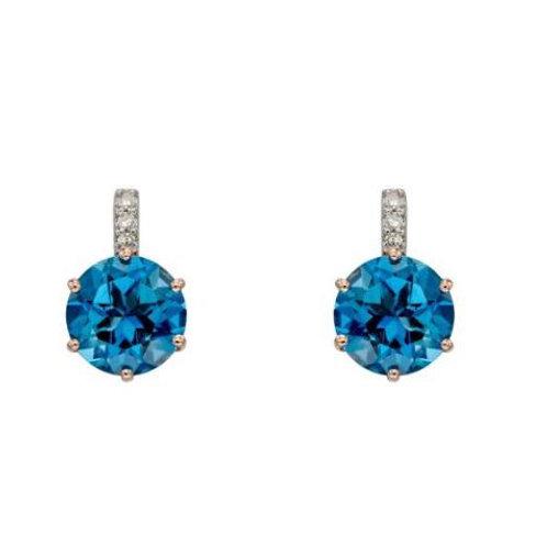 9ct Rose Gold London Blue Topaz & Diamond Studs
