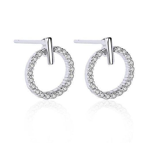 Sterling Silver CZ Open Circle Studs