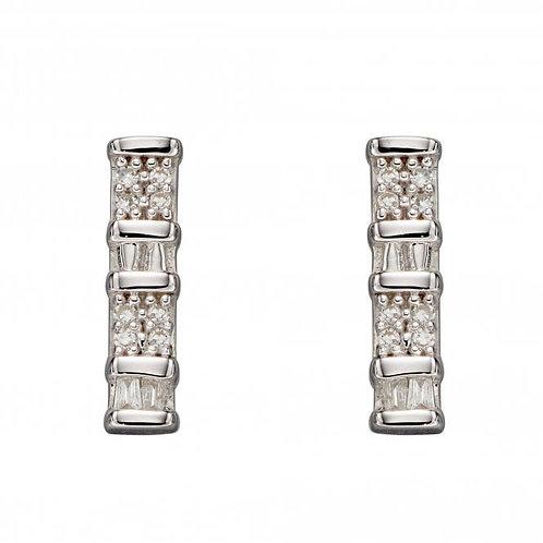 9ct White Gold Diamond Bar Earrings
