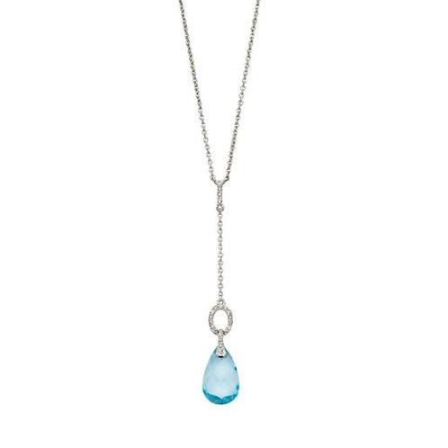 9ct White Gold Blue Topaz & Diamond Necklace