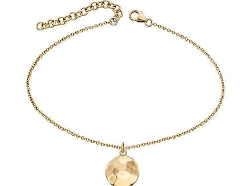 9ct  Gold Hammered Disc Bracelet