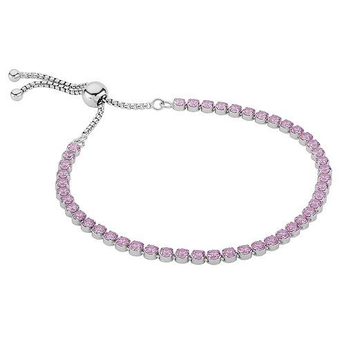 Sterling Silver adjustable Pink cz tennis bracelet