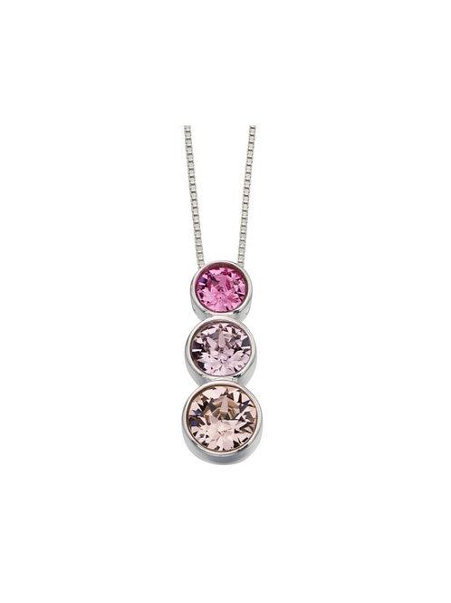 Sterling Silver Triple Swarovski Pink Pendant
