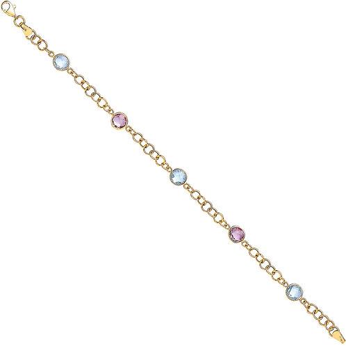 9ct Gold Amethyst & Blue Topaz Bracelet