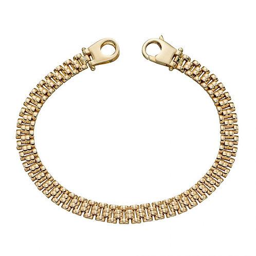 9ct Gold Watch Strap Style Bracelet