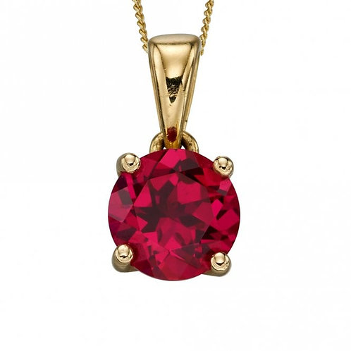 9ct Gold July Ruby Pendant