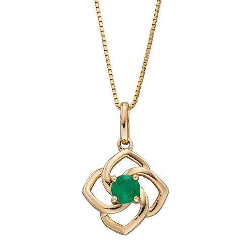 9ct Gold Emerald Flower Pendant