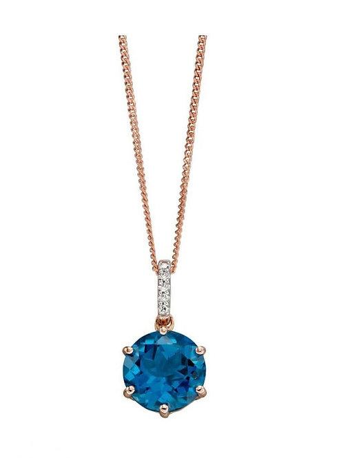 9ct Rose Gold London Blue Topaz & Diamond Pendant