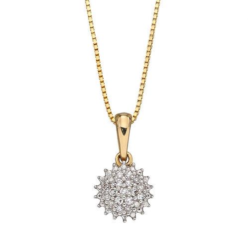9ct Gold Diamond Cluster Pendant