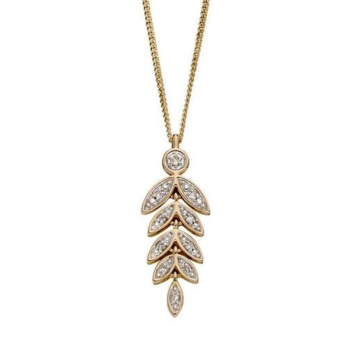 9ct Gold Diamond Leaf Pendant