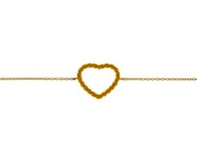9ct Gold rope open heart bracelet