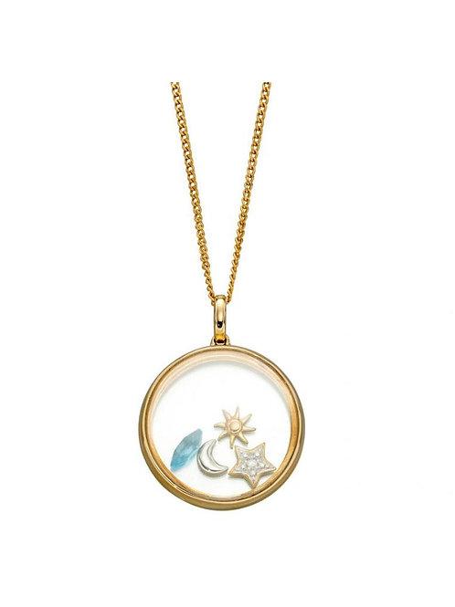 9ct Gold Blue Topaz & Diamond Floating Pendant