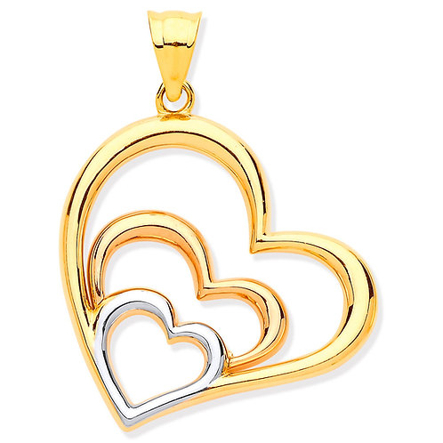 9ct Gold Triple Heart Pendant