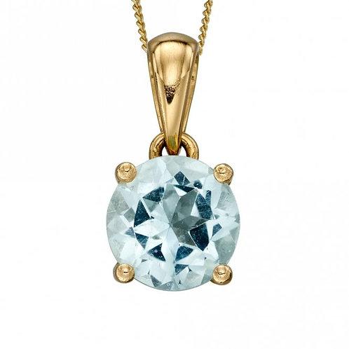 9ct Gold March Aquamarine Pendant