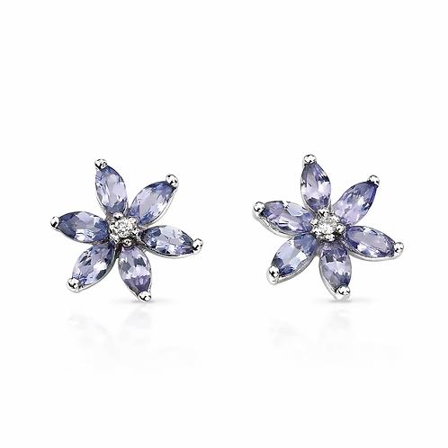 9ct White Gold Diamond & Tanzanite Flower Studs