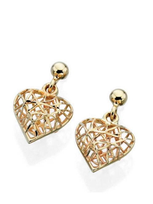 9ct Gold Caged Heart Droppers