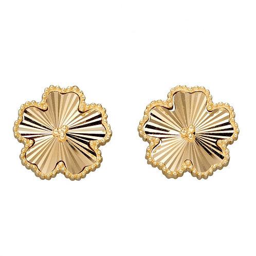 9ct Gold Diamond Cut Flower Studs