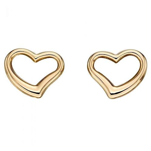 9ct Gold open heart earrings