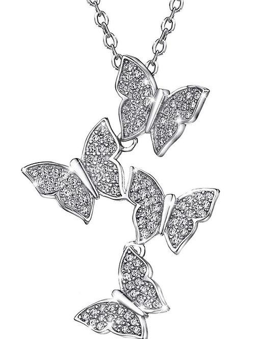Sterling Silver CZ Butterfly Necklace