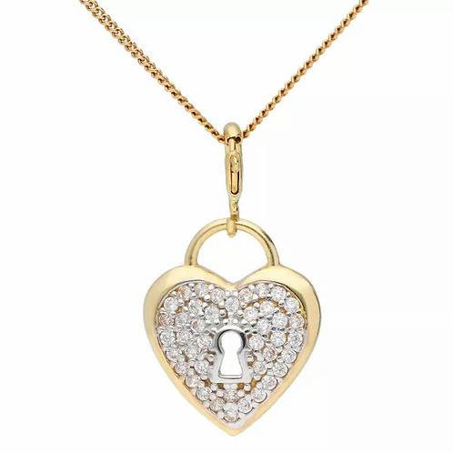 9ct Gold CZ padlock pendant