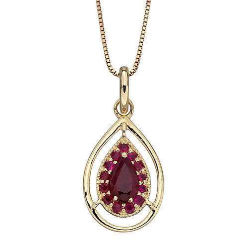 9ct Gold Ruby Teardrop Pendant