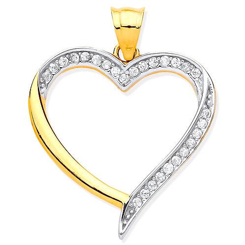9ct Yellow & White Gold CZ Heart Pendant