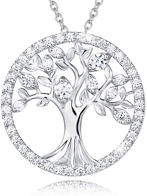 Sterling Silver CZ Tree of Life Pendant