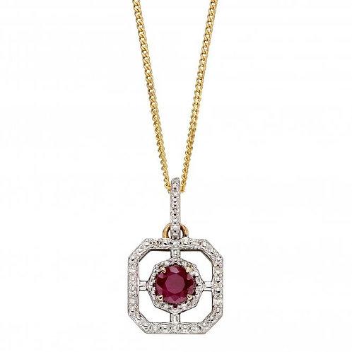 9ct Ruby & Diamond Pendant