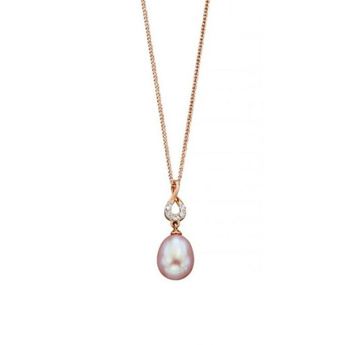 9ct Rose Gold Pink Pearl & Diamond Pendant