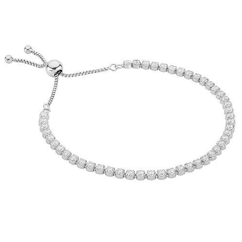 Sterling Silver adjustable cz tennis bracelet
