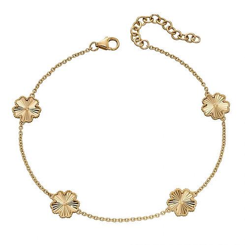 9ct Gold Diamond Cut Flower Bracelet
