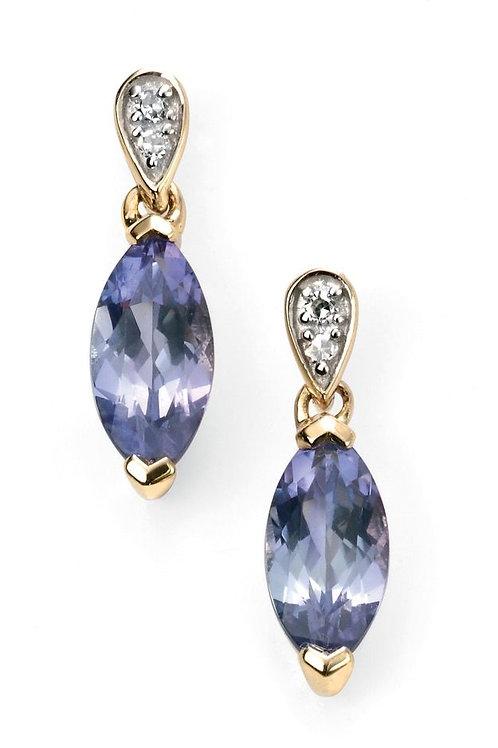 9ct Gold Tanzanite & Diamond Droppers