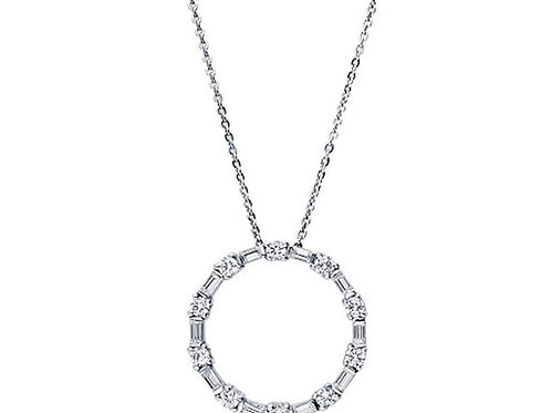 Sterling Silver CZ open circle necklace
