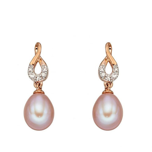 9ct Rose Gold Pink Pearl & Diamond Droppers