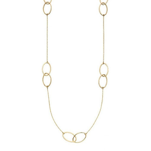 9ct Gold Oval Links Station Necklace