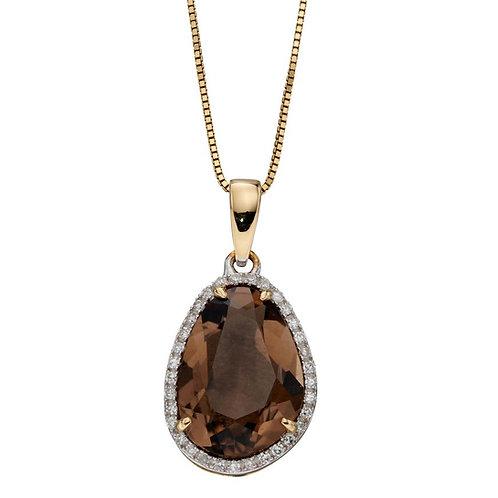 9ct Gold Smoky Quartz & Diamond Pendant