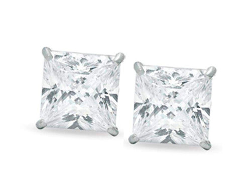 Sterling Silver 10mm Square CZ Studs