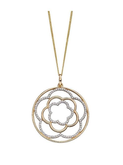 0ct Gold Diamond Flower Pendant