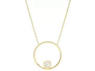 9ct Yellow Gold & Cubic Zirconia Circle Necklace