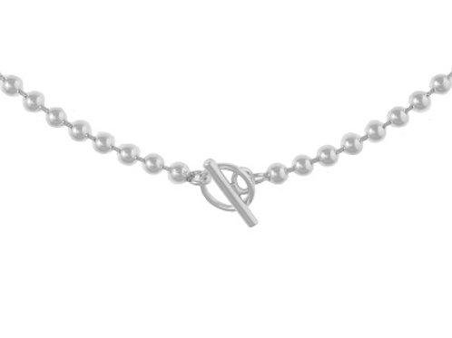 Sterling Silver Ball chain T Bar Bracelet